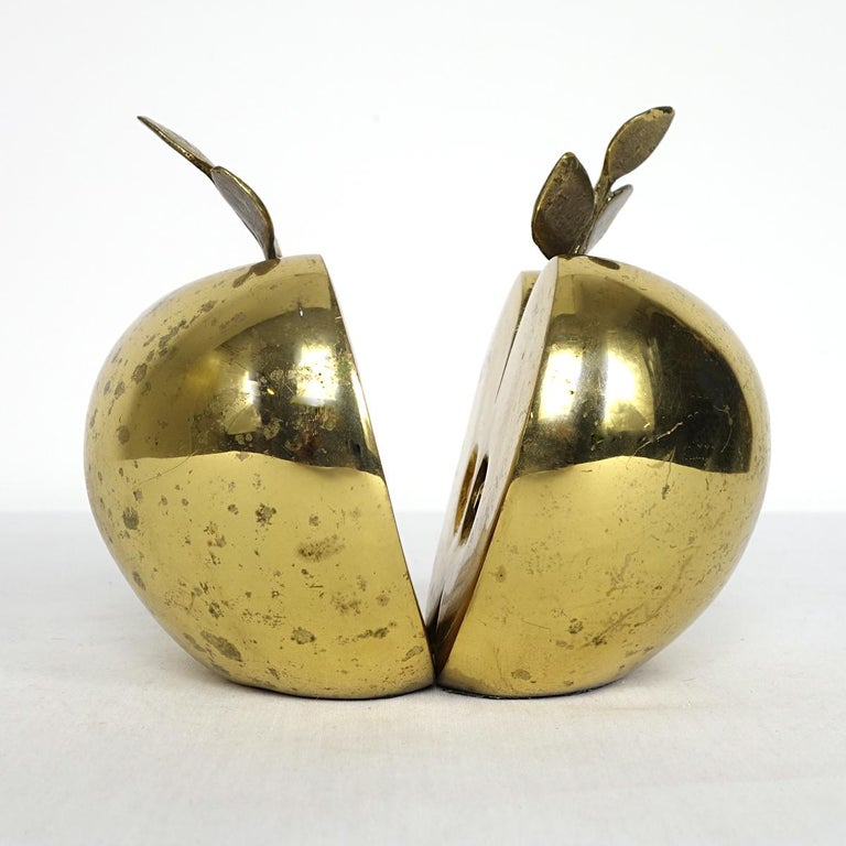 Hollywood Regency Set of Two Bookends in Brass Apple Halves Marked