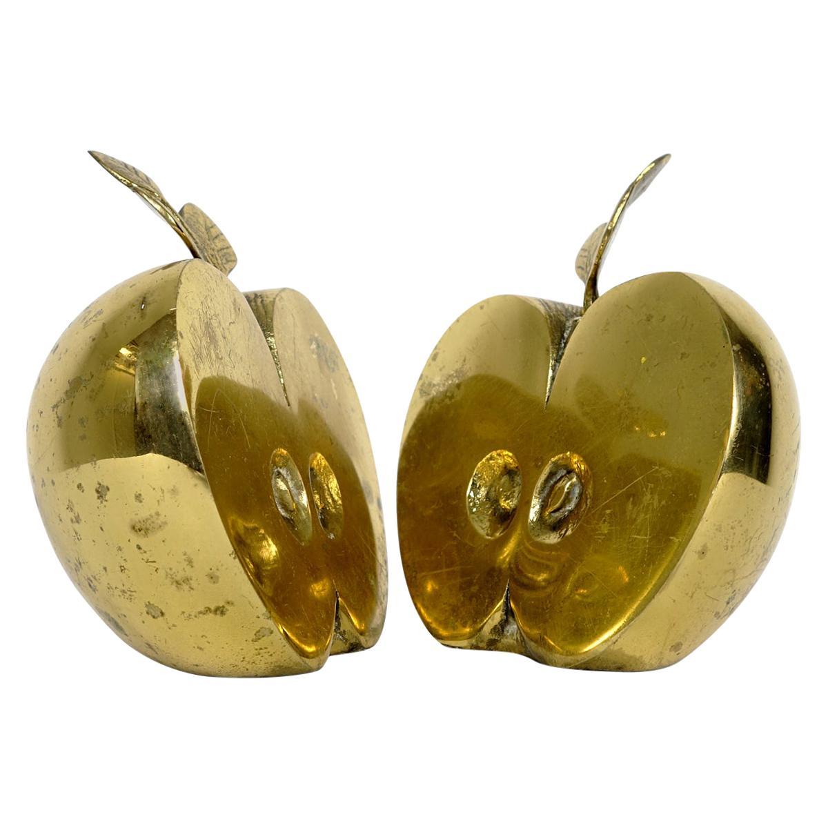 "Hollywood Regency Set of Two Bookends in Brass Apple Halves Marked ""Apko"""