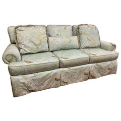Hollywood Regency Chinoiserie Light Blue Floral Luxury Sofa