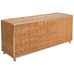 Hollywood Regency Sideboard in Rattan and Bamboo, 1970s