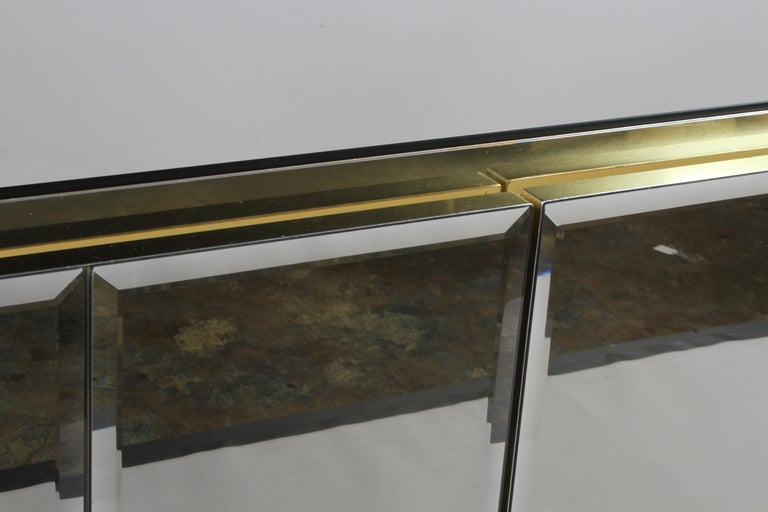 Hollywood Regency Signed Ello Bronze Mirror and Brass Credenza / Sideboard For Sale 6