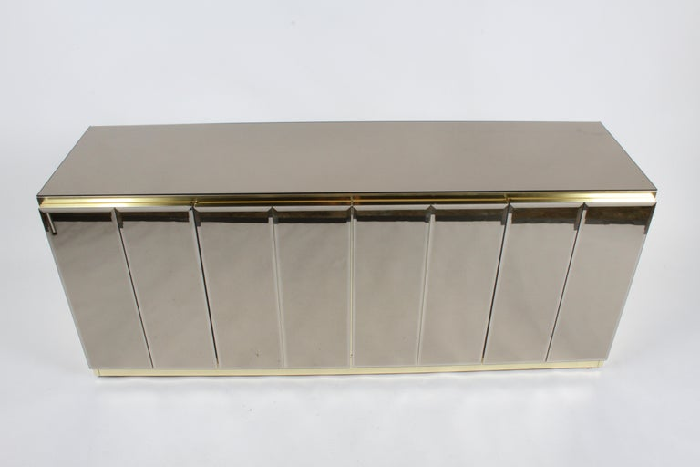 Hollywood Regency Signed Ello Bronze Mirror and Brass Credenza / Sideboard For Sale 8