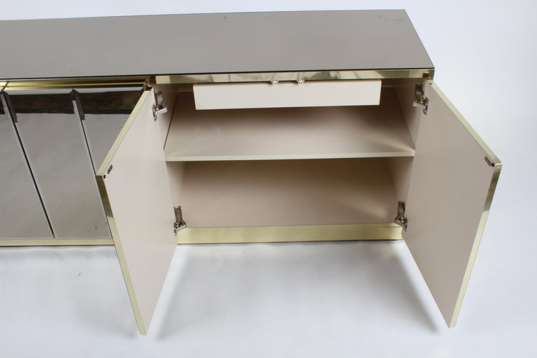 Hollywood Regency Signed Ello Bronze Mirror and Brass Credenza / Sideboard For Sale 12