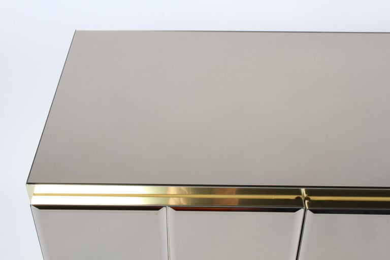 American Hollywood Regency Signed Ello Bronze Mirror and Brass Credenza / Sideboard For Sale