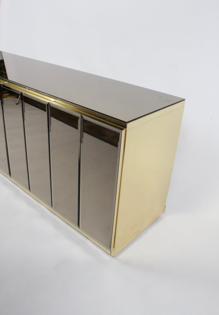 Hollywood Regency Signed Ello Bronze Mirror and Brass Credenza / Sideboard In Good Condition For Sale In St. Louis, MO