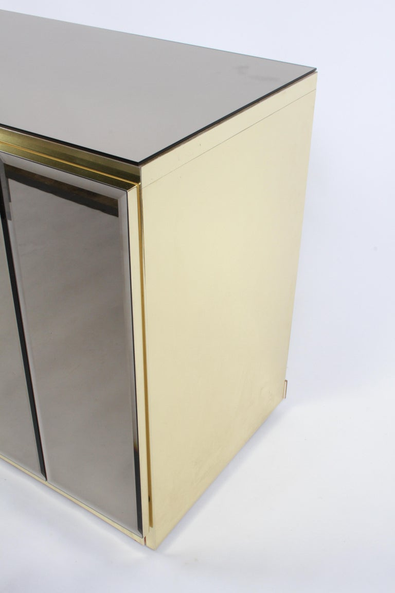 Late 20th Century Hollywood Regency Signed Ello Bronze Mirror and Brass Credenza / Sideboard For Sale