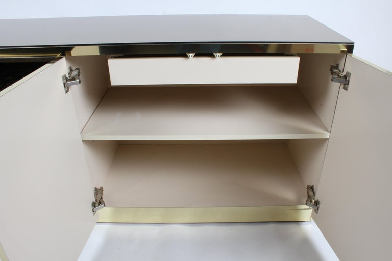 Hollywood Regency Signed Ello Bronze Mirror and Brass Credenza / Sideboard For Sale 1
