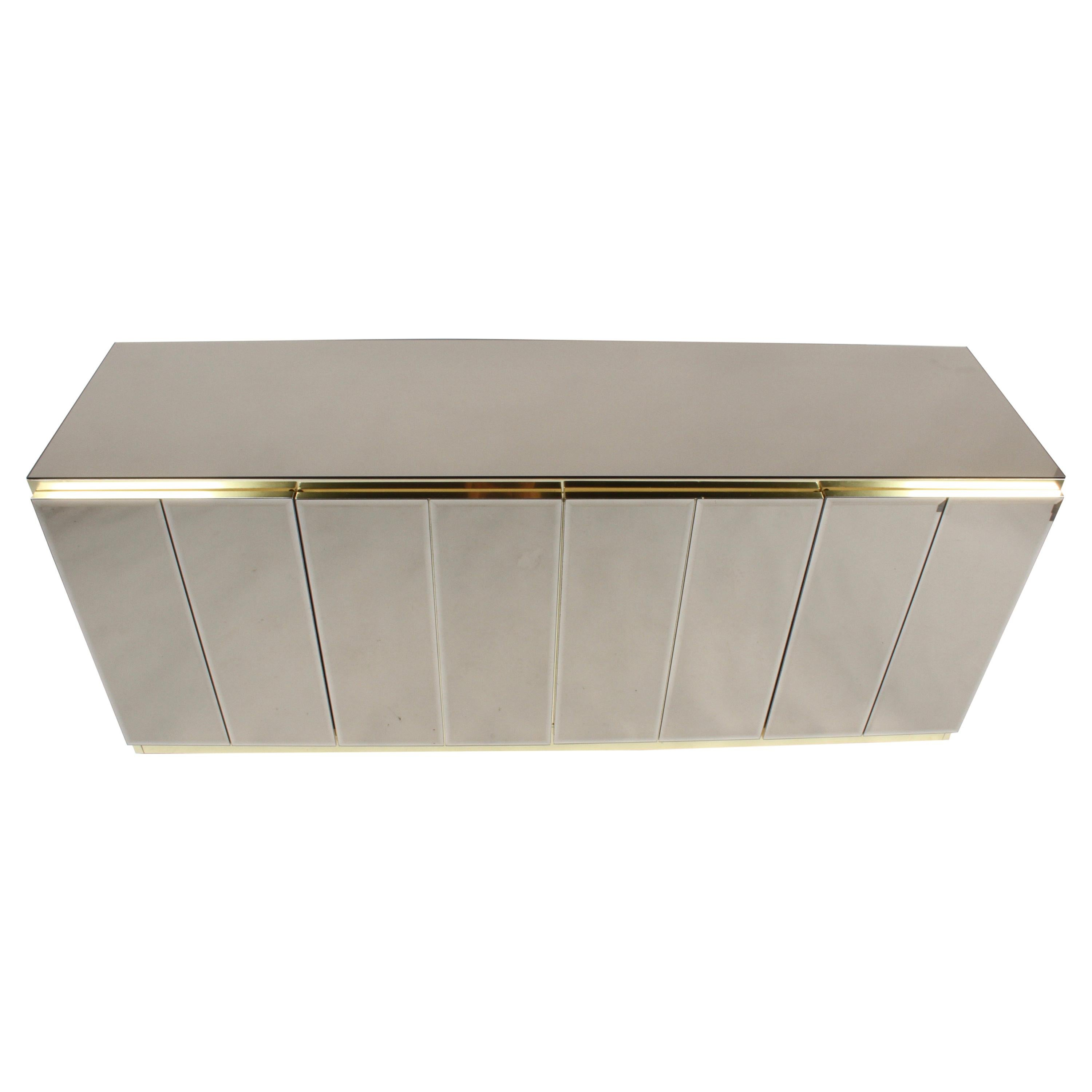 Hollywood Regency Signed Ello Bronze Mirror and Brass Credenza / Sideboard