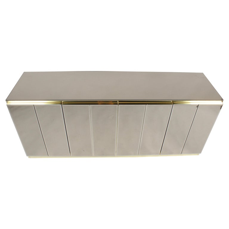 Hollywood Regency Signed Ello Bronze Mirror and Brass Credenza / Sideboard For Sale