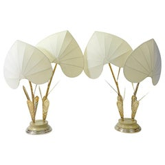 Hollywood Regency Silk and Brass Table Lamps by Antonio Pavia, 1970s