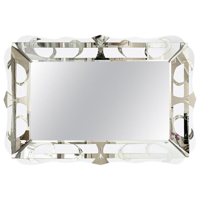 Hollywood Regency Silver Etched Mirror Vintage
