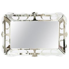 Hollywood Regency Silver Etched Mirror Vintage