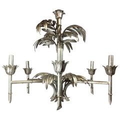 Hollywood Regency Silver Leaf Palm Faux Bamboo Chandelier