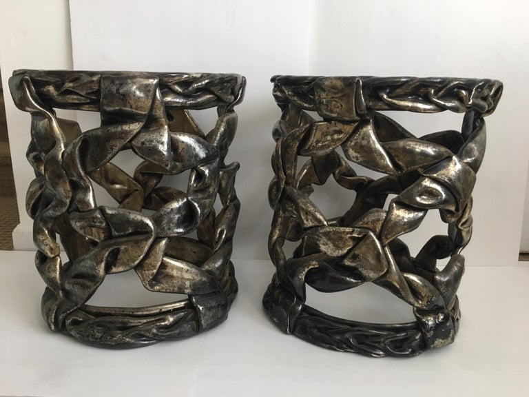 Hollywood Regency Silver Leaf Ribbon Drinks Tables, Style of Tony Duquette In Good Condition For Sale In Lambertville, NJ
