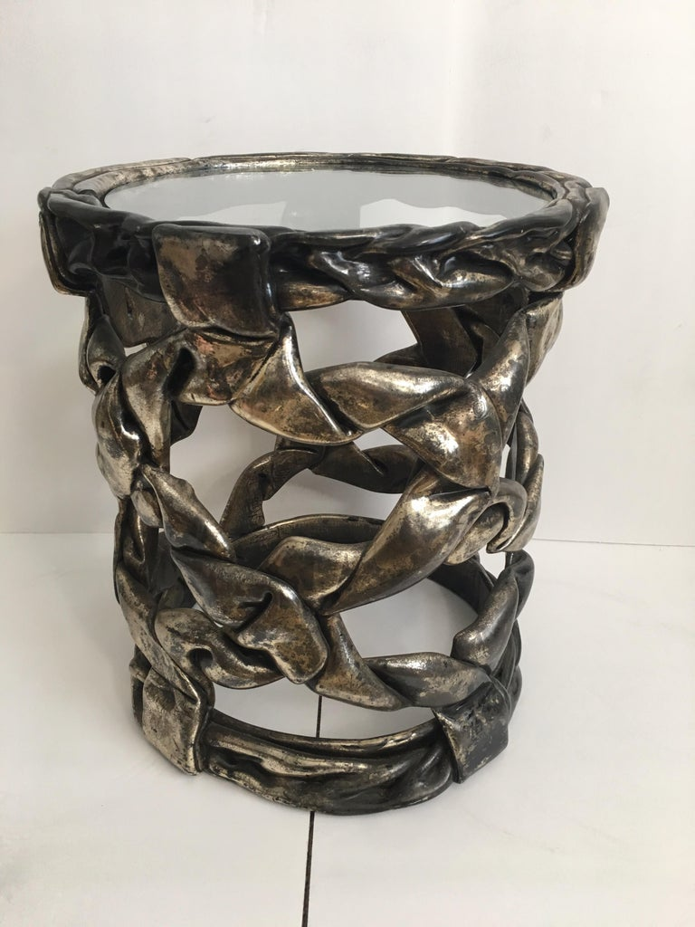 Hollywood Regency Silver Leaf Ribbon Drinks Tables, Style of Tony Duquette For Sale 2