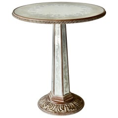 Hollywood Regency Silver Leafed Glass Top Table Attributed to Grosfeld House