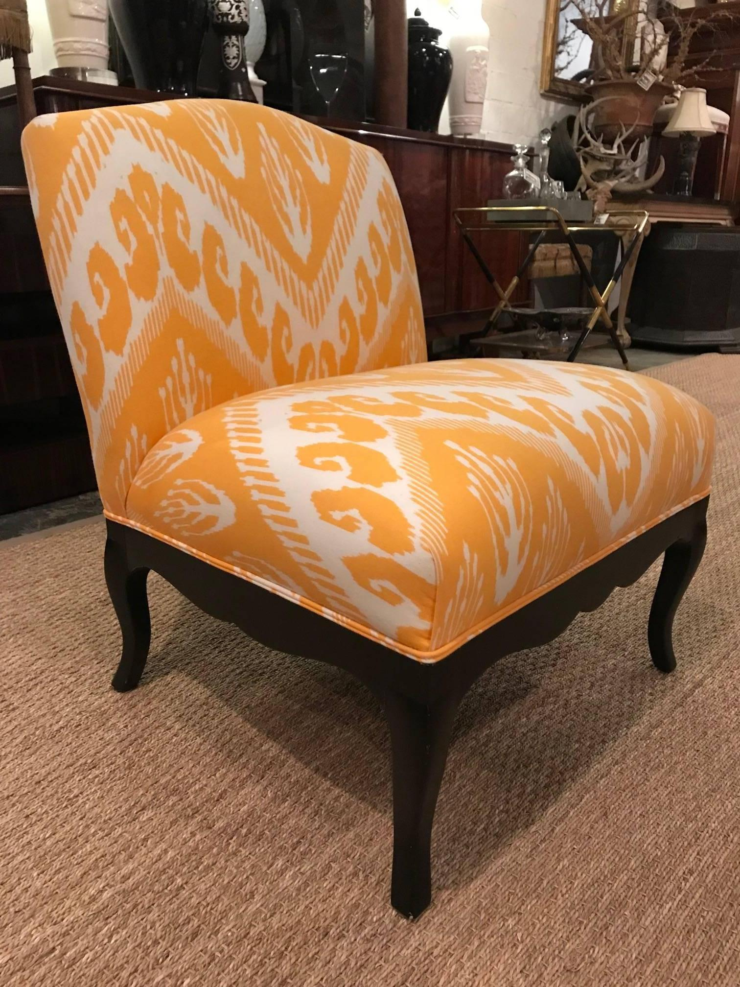 Hollywood Regency Slipper Chair In Michelle Nussbaumer Ikat Fabric For Sale  At 1stdibs