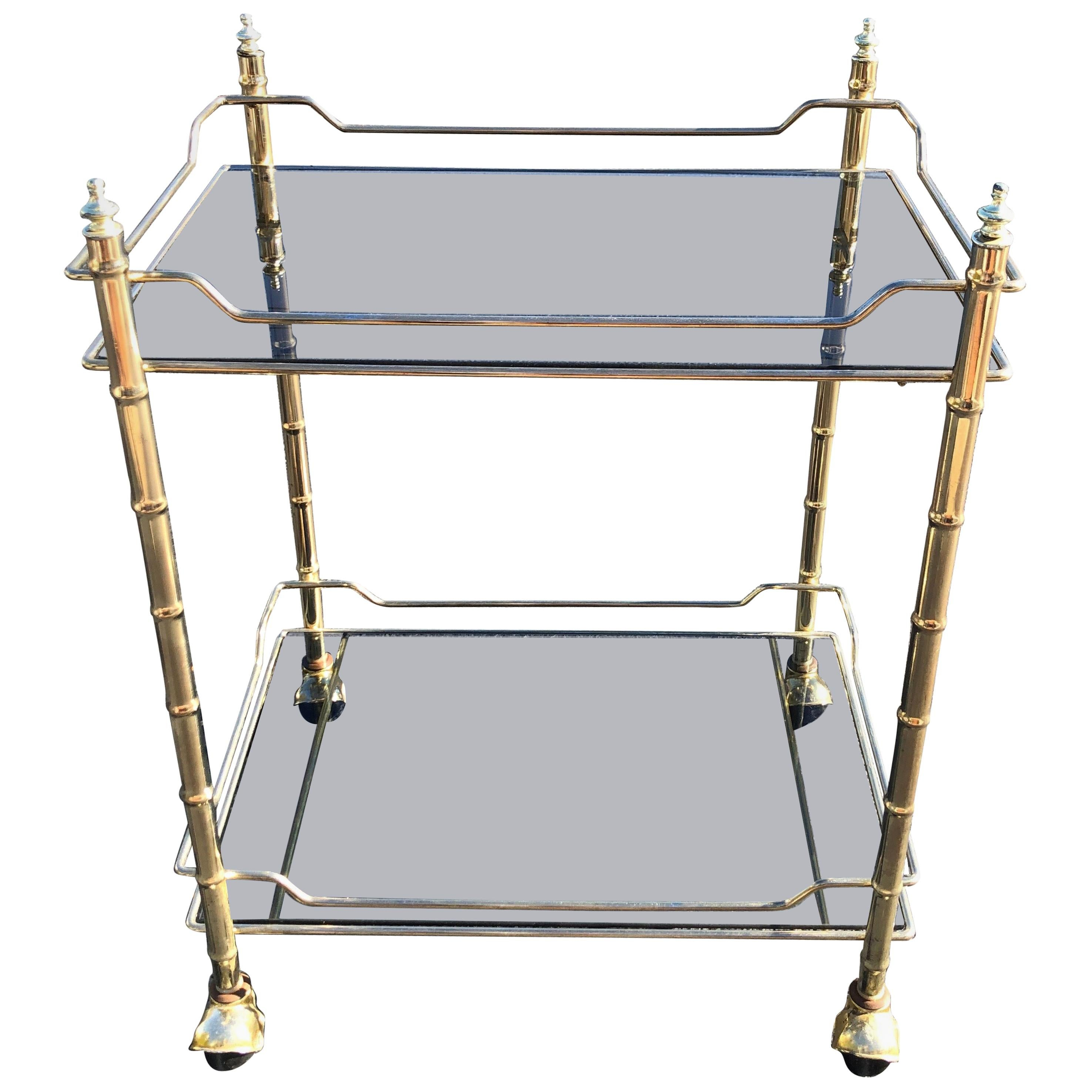 Hollywood Regency Smoked Glass and Brass Bar Cart
