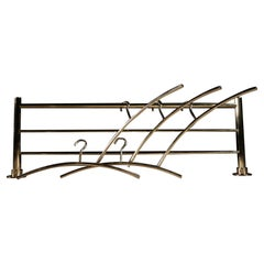 Hollywood Regency Solid Brass Coat Rack with 6 Hangers, 1980