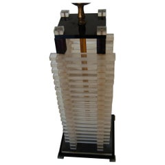 Hollywood Regency Stacked Lucite Table Lamp