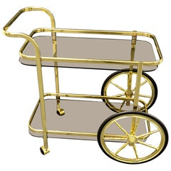 Hollywood Regency Style Bar Cart, Tea Trolley or Drinks Stand in Brass and Glass