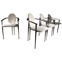 Hollywood Regency Style Belgo Chrom Chairs Gray, Beige, 1980