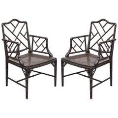 Hollywood Regency Style Black Armchairs