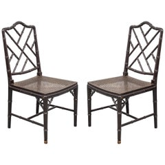 Hollywood Regency Style Black Side Chairs