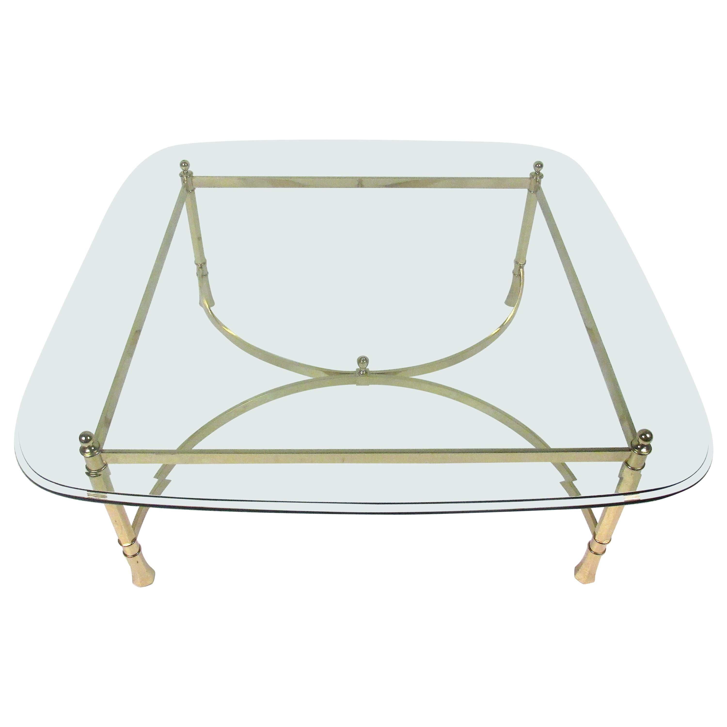 Hollywood Regency Style Brass and Glass Top Coffee Table