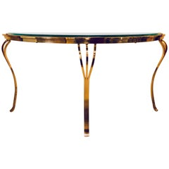 Hollywood Regency Style Brass and Glass Top Demilune Console Table Beveled Glass