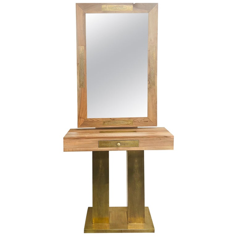 Hollywood Regency Style Brass and Walnut Mirror and Console Table Set For Sale