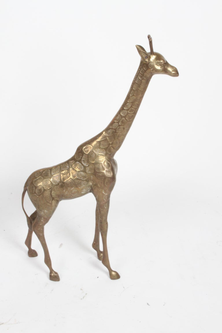 Hollywood Regency Style Brass Giraffe Floor Statue or Sculpture, circa 1970s For Sale 5
