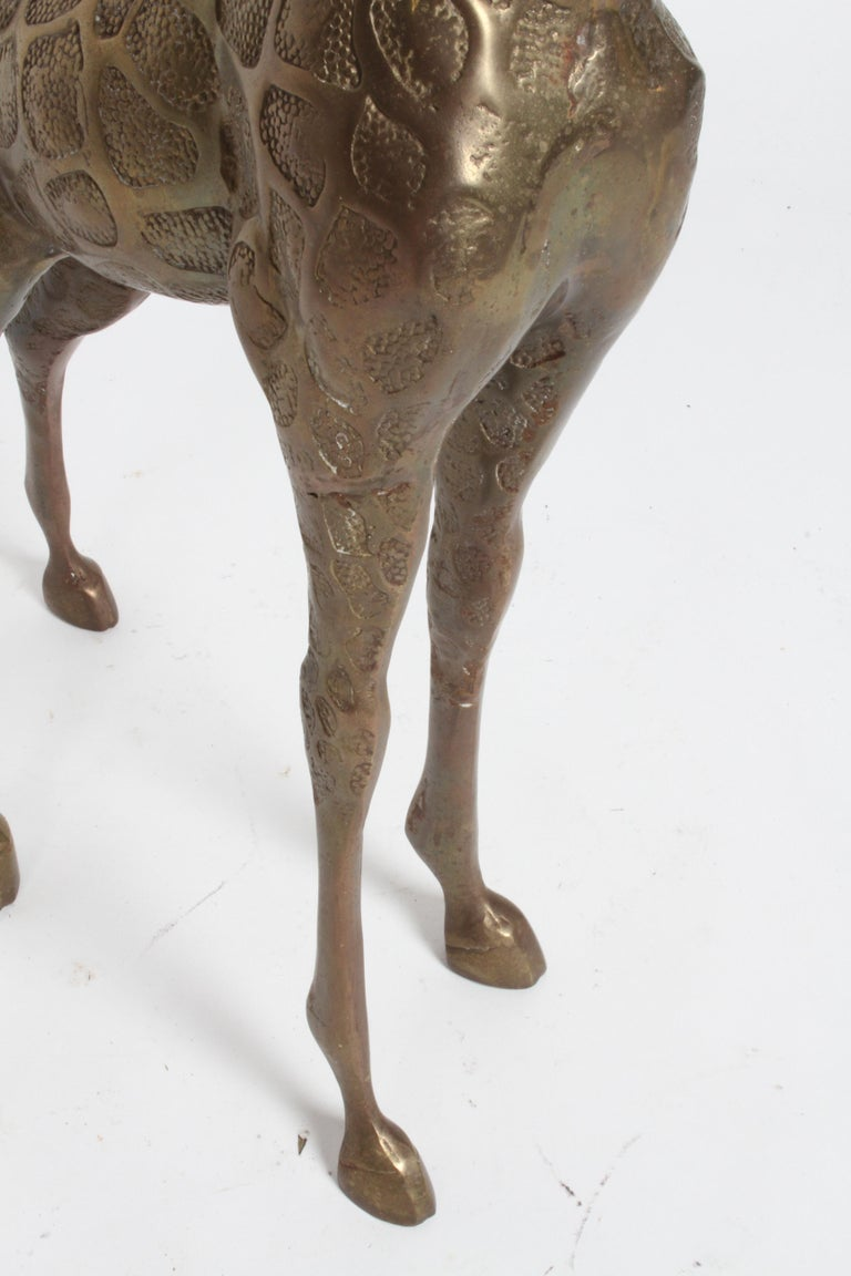 Hollywood Regency Style Brass Giraffe Floor Statue or Sculpture, circa 1970s For Sale 7