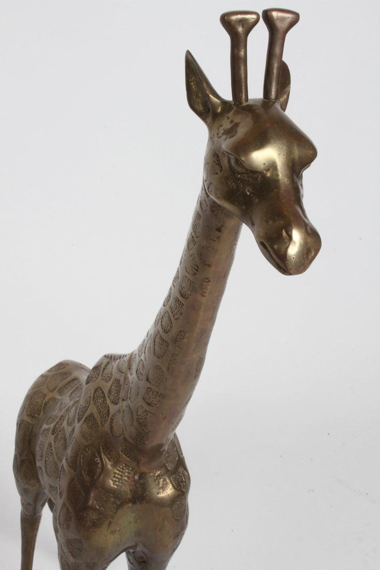 Hollywood Regency Style Brass Giraffe Floor Statue or Sculpture, circa 1970s For Sale 11