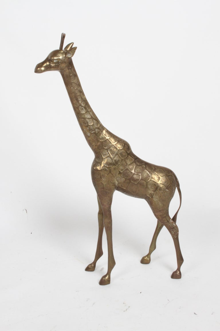 Asian Hollywood Regency Style Brass Giraffe Floor Statue or Sculpture, circa 1970s For Sale