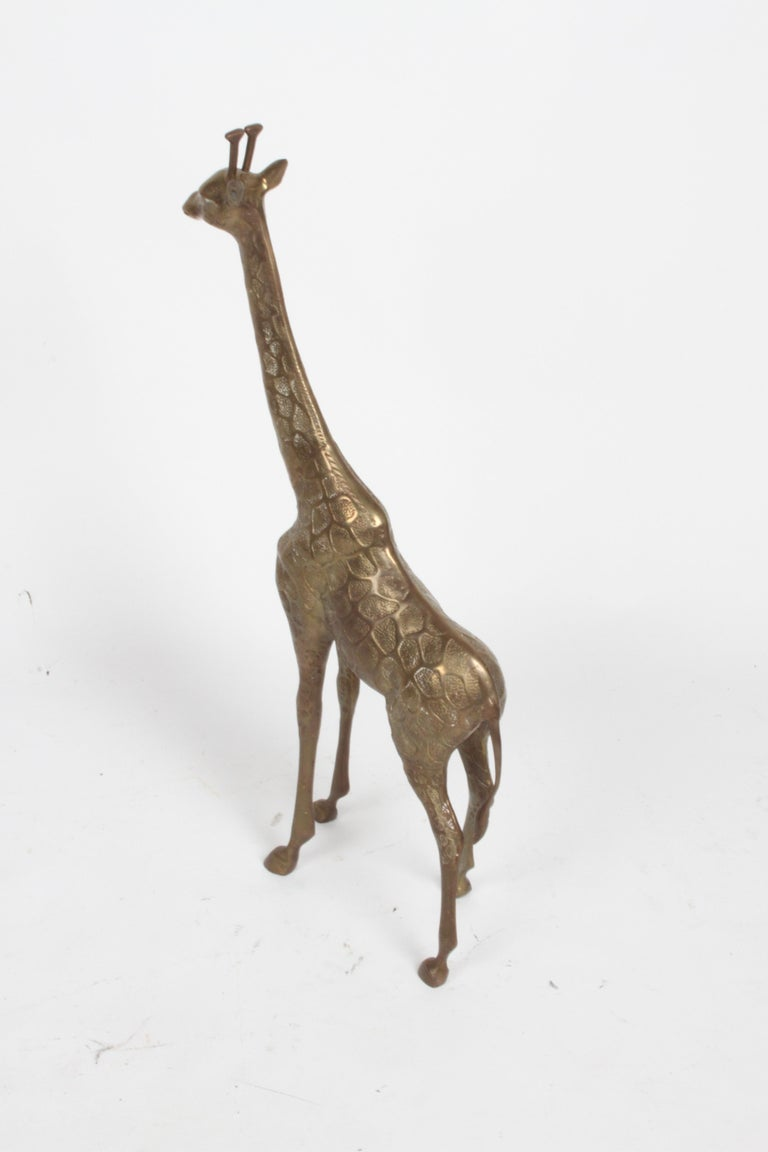 Hollywood Regency Style Brass Giraffe Floor Statue or Sculpture, circa 1970s For Sale 2