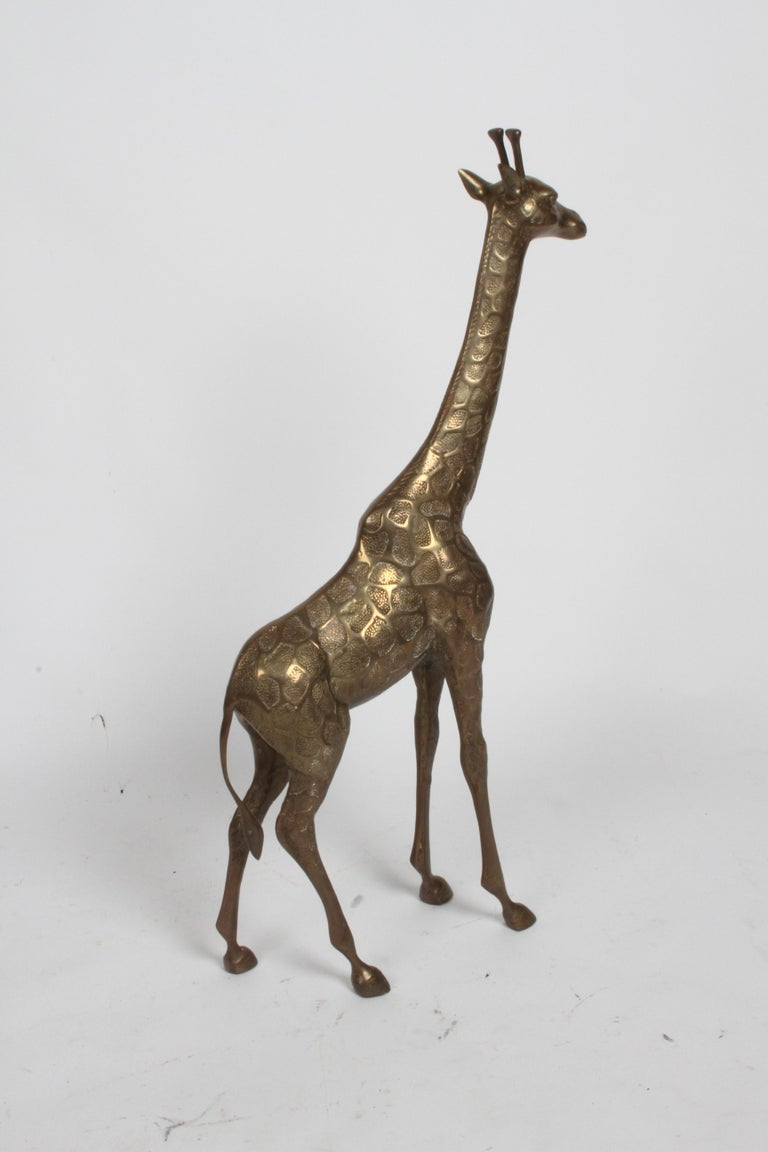 Hollywood Regency Style Brass Giraffe Floor Statue or Sculpture, circa 1970s For Sale 3