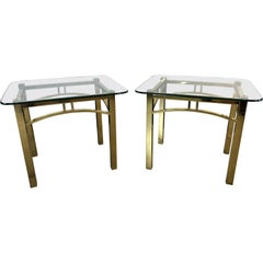 Hollywood Regency Style Brass and Glass Side Tables, Pair