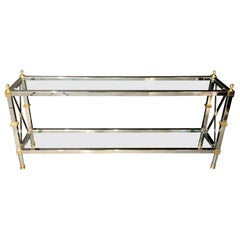Hollywood Regency Style Console / TV Table Steel and Brass Jansen Fashioned