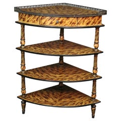 Faux Tortoise Shell Paint Decorated French Louis XVI Style Corner Étagère Shelf
