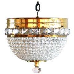 French Style Crystal Beaded  Dome Flush Mount Chandelier