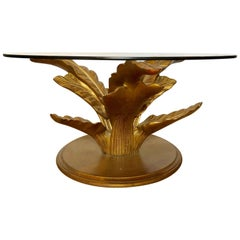 Hollywood Regency Style Decorative Gilt Leaf Base with Glass Top Coffee Table