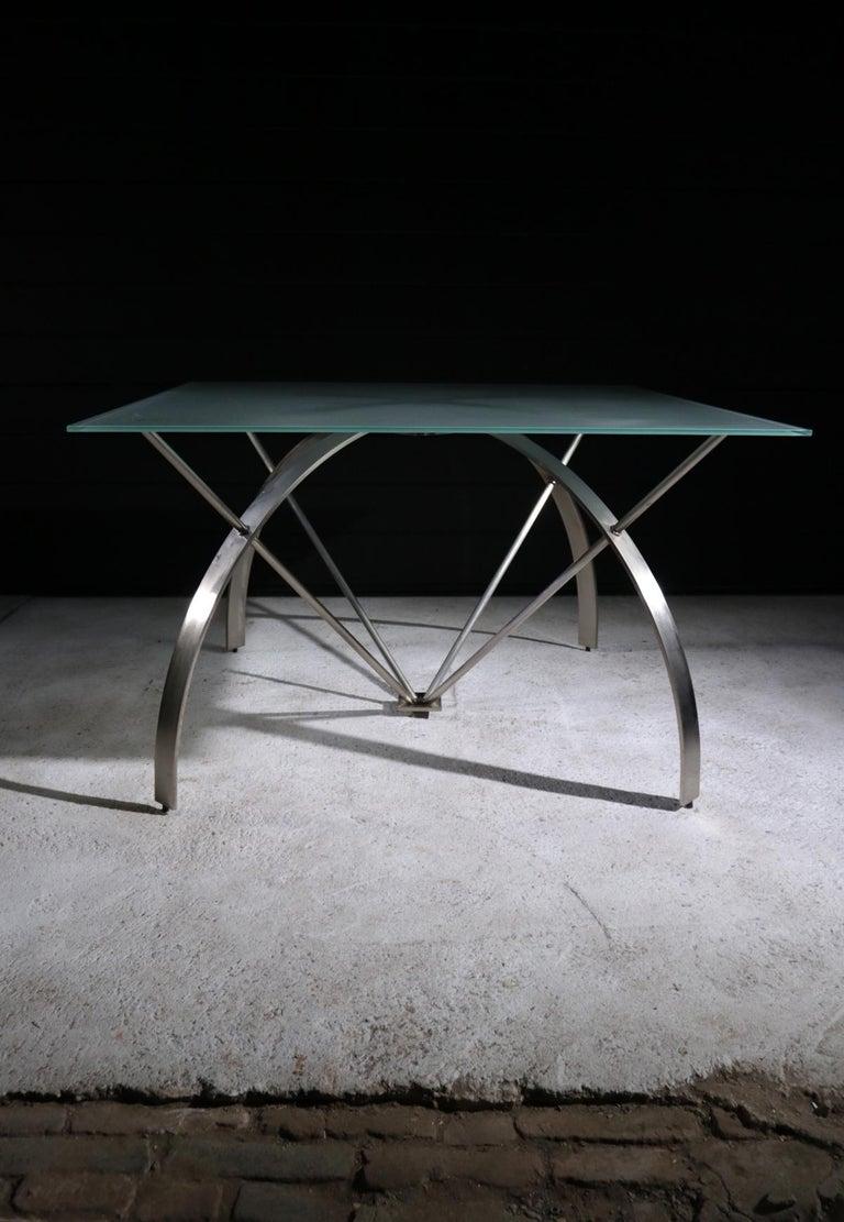 Hollywood Regency Style Design Belgo Chrom Dining Table, circa 1980 For Sale 5