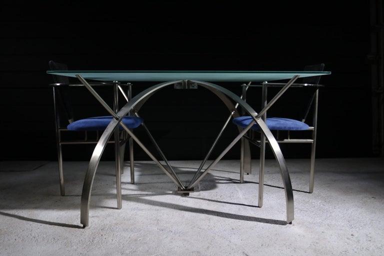 Hollywood Regency Style Design Belgo Chrom Dining Table, circa 1980 For Sale 6