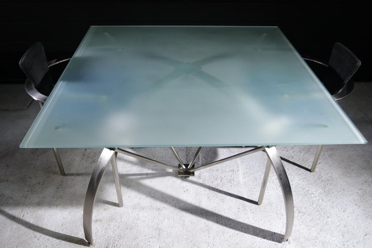 Hollywood Regency Style Design Belgo Chrom Dining Table, circa 1980 For Sale 7