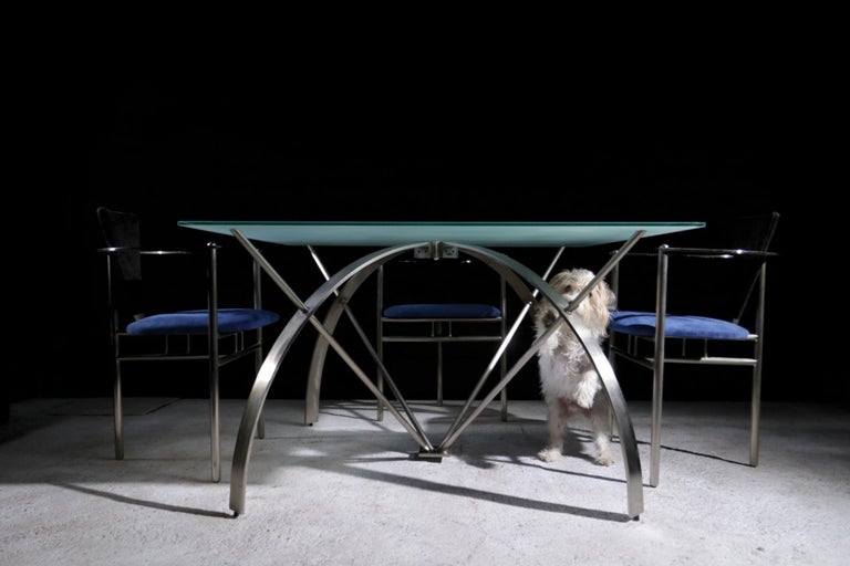 Rare dining table designed by Belgo Chrom in the 1980s. Sanded tabletop and brushed steel frame.