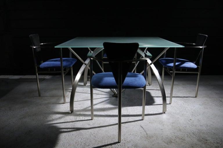 Belgian Hollywood Regency Style Design Belgo Chrom Dining Table, circa 1980 For Sale