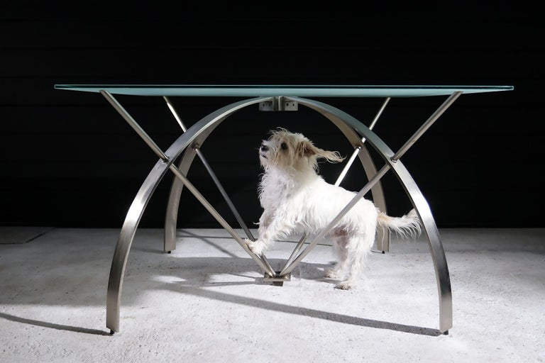 Late 20th Century Hollywood Regency Style Design Belgo Chrom Dining Table, circa 1980 For Sale
