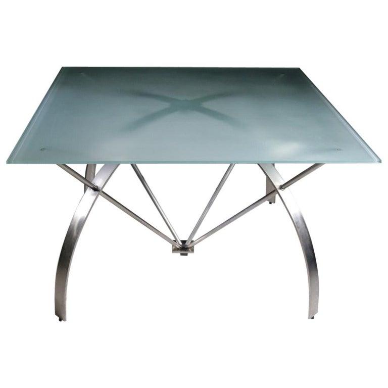 Hollywood Regency Style Design Belgo Chrom Dining Table, circa 1980 For Sale