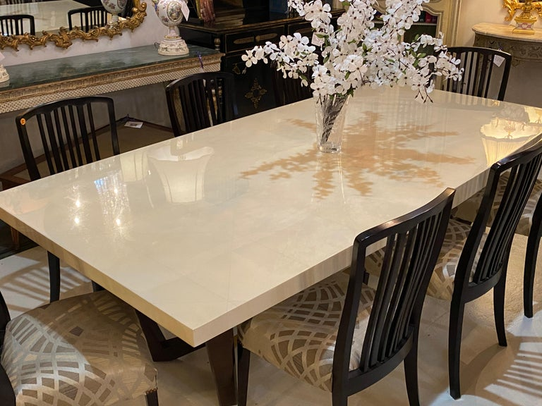 Wood Hollywood Regency Style Dining or Conference Table by Lorin Marsh Design For Sale